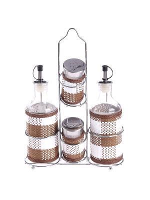 Набор для специй 5 предметов на металлической подставке PATRICIA. Цвет: светло-коричневый