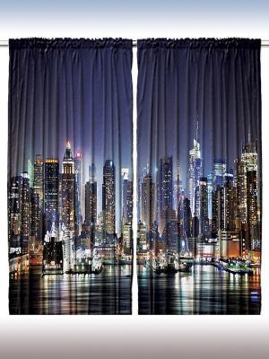 Комплект фотоштор для гостиной Город над водой, плотность ткани 175 г/кв.м, 290*265 см Magic Lady. Цвет: темно-синий, черный