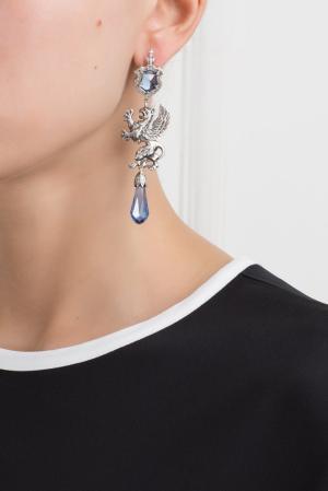 Серебряные серьги с сапфирами и бесцветными топазами «Гриффоны» Axenoff Jewellery. Цвет: серебряный, голубой