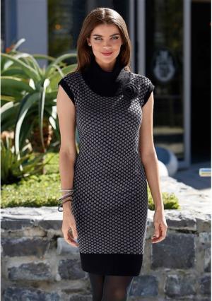 Платье MY STYLE. Цвет: черный/серый