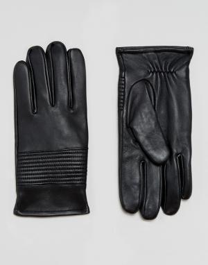 ASOS Черные кожаные перчатки. Цвет: черный
