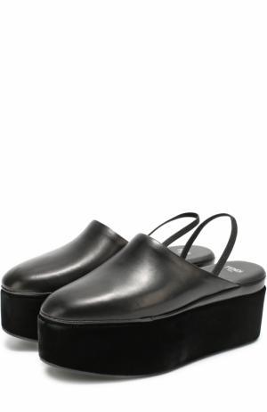 Кожаные сабо на платформе Fendi. Цвет: черный
