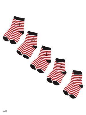 Носки детские (5 пар) HOSIERY. Цвет: красный, белый