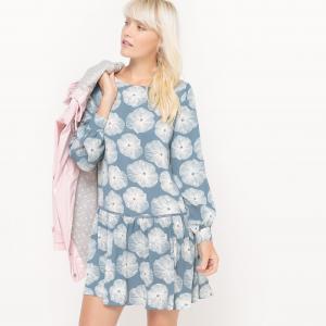 Платье с длинными рукавами, принтом и вырезом сзади MADEMOISELLE R. Цвет: рисунок/синий фон