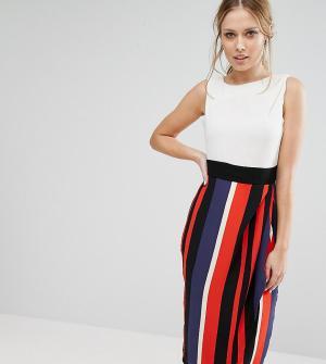 Closet London Контрастное платье миди 2 в 1. Цвет: мульти