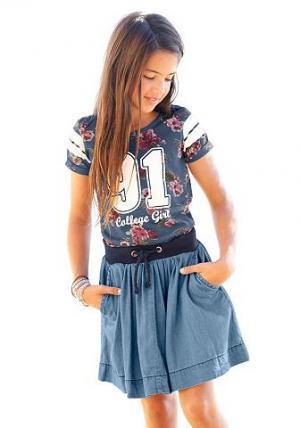 Джинсовая юбка CFL. Цвет: джинсовый синий