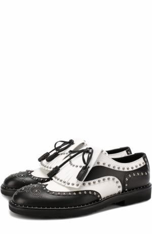 Кожаные туфли Milano с бахромой и заклепками Dolce & Gabbana. Цвет: черно-белый