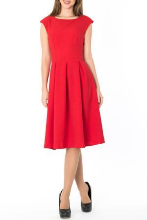 Стильное платье-миди с расклешенной юбкой S&A style. Цвет: красный