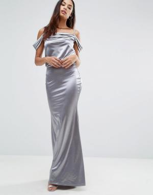 Club L Драпированное атласное платье макси с юбкой годе. Цвет: серебряный