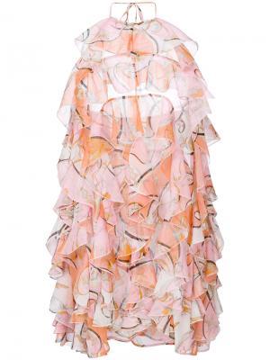 Короткое платье с рюшами и принтом Emilio Pucci. Цвет: розовый и фиолетовый