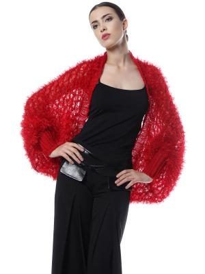 Болеро безразмерное вязаное вручную Мягчайший Пушистик RED SEANNA. Цвет: красный