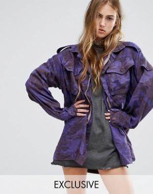 Reclaimed Vintage Куртка в стиле милитари с камуфляжным принтом. Цвет: фиолетовый