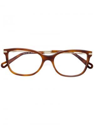 Очки в черепаховой оправе Chloé Eyewear. Цвет: жёлтый и оранжевый