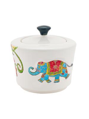 Сахарница Слон голубой 200мл в п/у Elff Ceramics. Цвет: белый, голубой