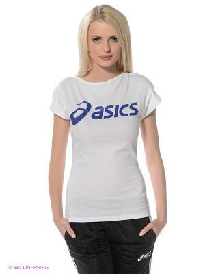 Футболка Logo Tee ASICS. Цвет: белый, синий