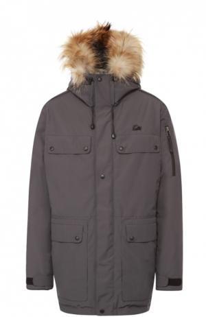 Пуховая парка POLUS с меховой отделкой капюшона Arctic Explorer. Цвет: серый