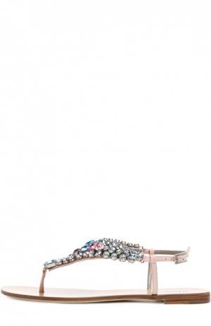 Кожаные сандалии с кристаллами Kiton. Цвет: розовый