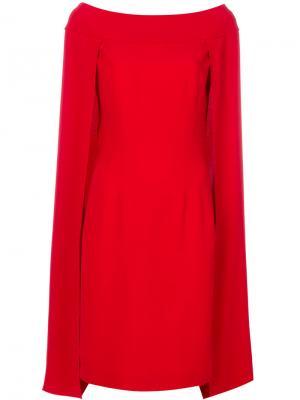 Расклешенное платье кейп Alberta Ferretti. Цвет: красный