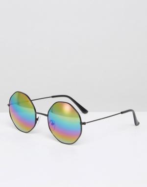 7X Черные солнцезащитные очки с шестиугольными стеклами. Цвет: черный