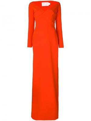 Платье с широким V-образным вырезом Victorie Solace. Цвет: жёлтый и оранжевый