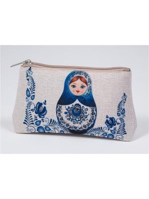 Косметичка из холста с нанесенным рисунком Матренин Посад. Цвет: серый, синий