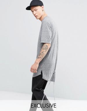 Vision Air Меланжевая футболка со шнурками. Цвет: серый