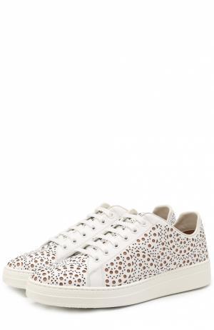 Кожаные кроссовки с перфорацией Alaia. Цвет: белый
