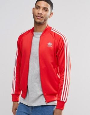 Adidas Originals Спортивная куртка с трилистником Superstar AY7062. Цвет: красный