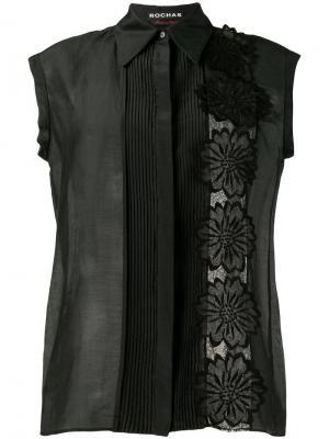 Рубашка с цветочной аппликацией Rochas. Цвет: чёрный