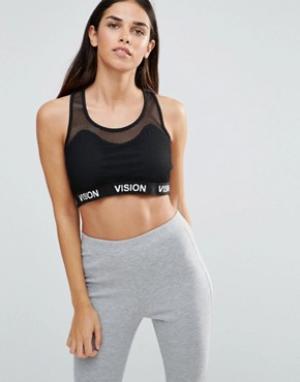 Vision Streetwear Укороченный топ с сетчатой вставкой. Цвет: черный