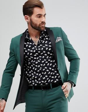 ASOS Зеленый приталенный пиджак-смокинг. Цвет: зеленый