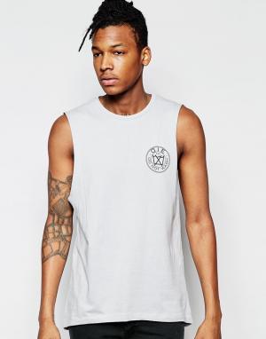 D.I.E Серая футболка с обрезанными рукавами и логотипом на груди .. Цвет: серый