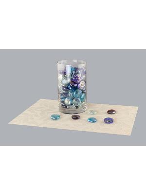 Набор декоративных камешков Улитка/Месяц EL CASA. Цвет: синий, голубой, прозрачный