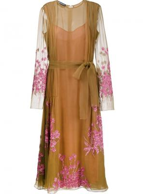 Декорированное платье Rochas. Цвет: коричневый
