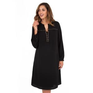 Платье до колен с длинными рукавами LOVEDROBE. Цвет: черный