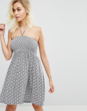 Pia Rossini Пляжное платье с открытыми плечами. Цвет: темно-синий