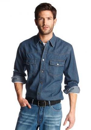 Джинсовая рубашка, Arizona. Цвет: синий варёный