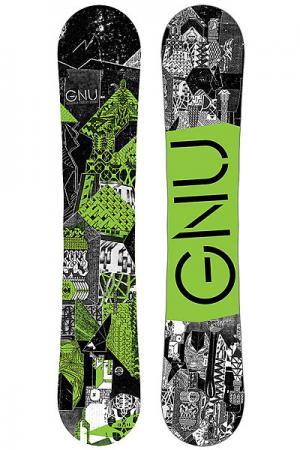 Сноуборд  Crbn Crdt Btx Green Ast GNU. Цвет: черный,зеленый,белый