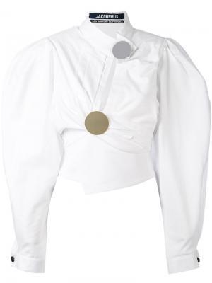 Асимметричная блузка с пышными рукавами Jacquemus. Цвет: белый