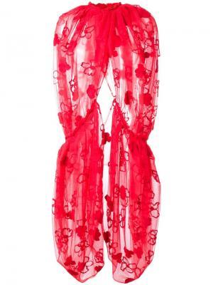 Декорированный кружевной кейп Simone Rocha. Цвет: красный