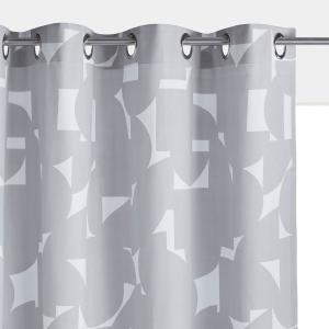 Штора с люверсами, 100% хлопок, ARON La Redoute Interieurs. Цвет: серый/ белый