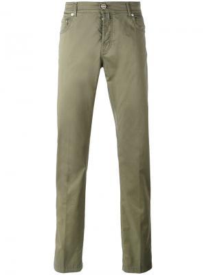 Slim-fit trousers Kiton. Цвет: зелёный