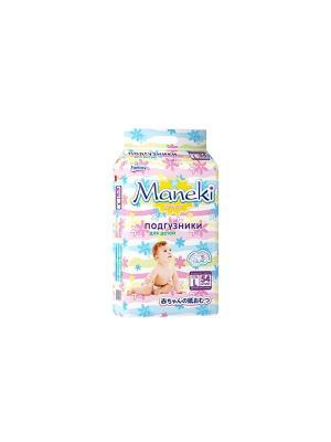 Подгузники детские одноразовые, размер L, 9-14 кг, 54 шт./упак Maneki. Цвет: белый