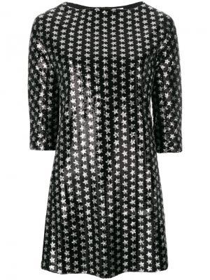 Мини-платье с принтом звезд Gaelle Bonheur. Цвет: чёрный