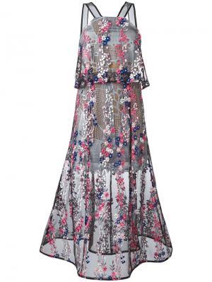 Прозрачное платье с цветочной вышивкой Self-Portrait. Цвет: многоцветный