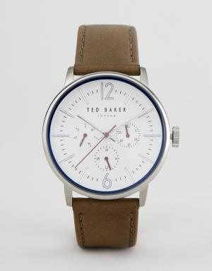Ted Baker Часы с кожаным ремешком оливкового цвета и хронографом TE150. Цвет: коричневый