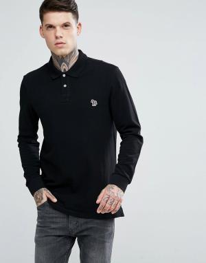 PS Paul Smith Черная футболка-поло с длинными рукавами и логотипом-зеброй Sm. Цвет: черный