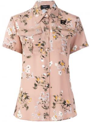 Блуза с короткими рукавами цветочным принтом Rochas. Цвет: телесный