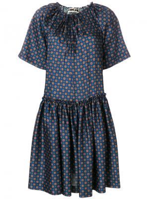Расклешенное платье с узором Hache. Цвет: синий