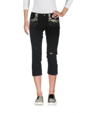 Джинсовые брюки-капри SILK AND SOIE. Цвет: черный